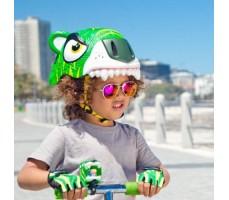 фото шлема Crazy Safety Green Tiger 2017 на голове у девочки сбоку
