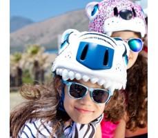 фото шлема Crazy Safety White Tiger 2017 на голове у девочки спереди