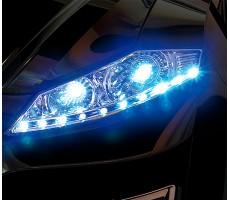 Фото передних светодиодных фар электромобиля HENES Phantom Premium Black