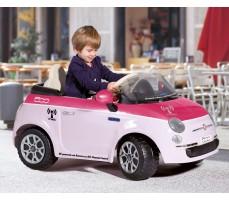 Фото электромобиля Peg-Perego Peg-Perego Fiat 500 Pink с пассажиром
