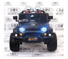 Электромобиль River Toys Jeep Wrangler O999OO 4x4 Black вид спереди