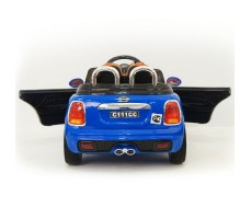 фото детского электромобиля RiverToys Mini Cooper C111CC Blue сзади