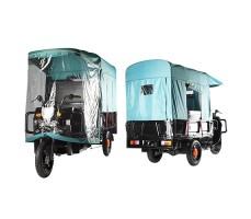 фото грузовой электрической тележки с тентом Green City D3 спереди и сзади