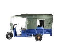 фото грузовой электрической тележки с тентом Green City D4 сбоку