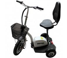 фото электротрицикла Voltrix Trike 500 вид сбоку с повернутым колесом