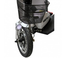 фото переднего колеса и корзины электротрицикла Voltrix Trike 500