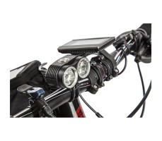 фото фонарей и чехла на смартофон для велогибрида Benelli FAT Nerone Lux