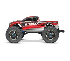 фото радиоуправляемой машины Traxxas E-Maxx 1/10 4WD Brushless Red and Silver сбоку