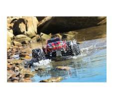 фото радиоуправляемой машины Traxxas E-Maxx 1/10 4WD BrushlessTSM Red and Silver в движении