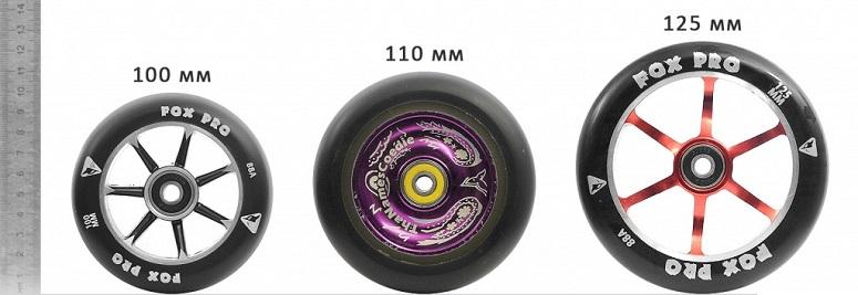 Жесткость колес самоката написана на самих колесах